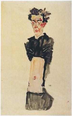 """Abkehr vom Diktat der Schönheit: Egon Schieles """"Selbstbildnis mit entblößtem Nabel"""" (1911), ..."""