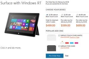 3 Wochen Lieferzeit für das Surface um 499 US-Dollar