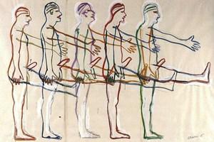 """Nackte Männerparade: Bruce Naumans """"Five Marching Men"""" (1985)."""