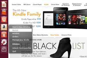 """Und noch einmal Amazon: Auch im Launcher befindet sich nun von Haus ein Eintrag für den Online-Händler. Dabei handelt es sich um eine vorinstallierte """"Web App"""", die den Desktop mit Online-Services verzahnt."""