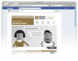 """Die Facebook-Seite der """"4 Wände 4 Hände""""-Kampagne."""