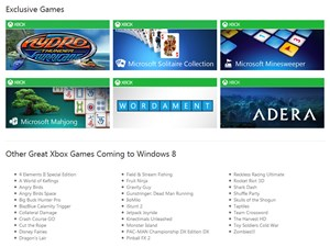 40 Spiele werden zum Start für das neue Metro-Interface verfügbar sein. Herkömmliche Spiele kann man bei Windows 8 im Desktop-Modus installieren und spielen.