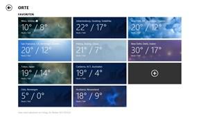Die Favoritenliste der Wetter-App.