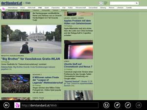 """Das """"New UI""""-Interface des Internet Explorer 10 präsentiert sich äußerst reduziert."""