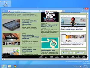 ...in den Desktop-Modus des Browser gewechselt werden, der sich vom IE9 unter Windows 7 nur in kleinen Details unterscheidet.