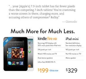 Amazon greift iPad Mini auf seiner Website an.