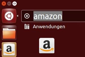 Mehrfach an prominenter Stelle in Ubuntu 12.10 zu finden: Der Online-Händler Amazon.