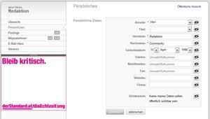 Verwaltung eigener Daten im Profil.