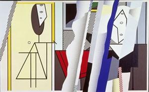 """Das Atelier als Kunstgeschichtsbeispiel: Roy Lichtensteins in der Stuttgarter Sammelausstellung gezeigte """"Reflections on the Artist's Studio"""" (Öl, Magna auf Leinwand, 1989)."""
