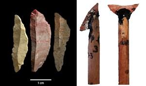 Für scharfe Klingen braucht es einen scharfen Verstand: drei der in den Pinnacle-Point-Höhlen gefundenen Mikrolithe (li.) und ihr möglicher Einsatz als Mordwerkzeug (re.).