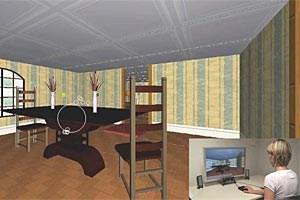 Eine der virtuellen Computerwelten, in denen Versuchspersonen Knöpfe an den Wänden suchen und drücken sollen. Ihre Blicke werden dabei über Eye-Tracking aufgefangen. Eine Forscherin beobachtet den Versuch an einem zweiten Bildschirm, auf dem die Blickbewegungen sichtbar werden (Kreise im Bild - auf dem Bildschirm des Probanden sind diese nicht zu sehen).