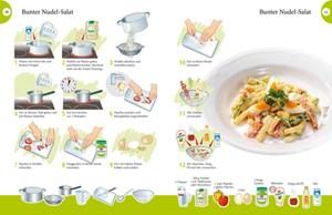 Bilder und Symbole stellen die einzelnen Kochschritte detailliert dar.