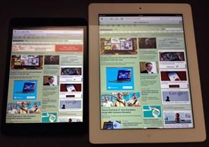 Im direkten Vergleich weist das größere iPad mit Retina-Display einen leicht gelblichen Farbstich auf.