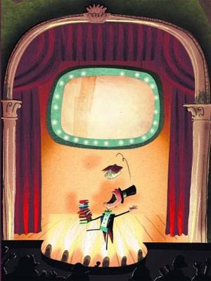 """Henry legt es darauf an, durch das Verschlingen größerer Büchermengen zum schlauesten Menschen der Welt zu werden, und das kann wirklich nicht gutgehen. Illustration aus: """"Der unglaubliche kleine Bücherfresser"""", Aufbau-Verlag."""