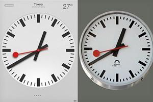 Der direkte Vergleich zwischen dem Uhren-Design in iOS 6 (links) und jenem der SBB.