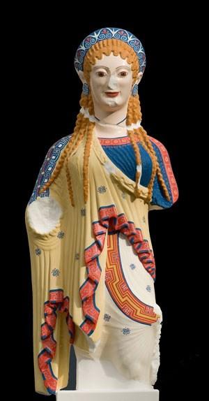 """""""Chioskore"""", Farbrekonstruktion, Original von der Akropolis in Athen (Griechenland)."""