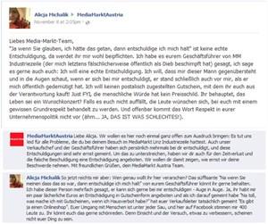 Michaliks zweite Beschwerde und ihre Reaktion auf die etwas später folgende Antwort von Media Markt.