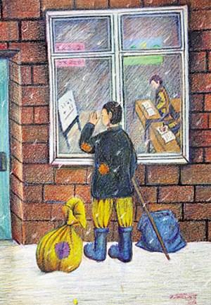 Wie stark der Wunsch nach Bildung bei vielen der Kinder und Jugendlichen ist, vermittelt das Gemälde eines 15-jährigen unbegleiteten Flüchtlings aus Afghanistan.