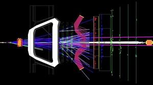 Ein Protonenstrahl (links) erzeugt im LHCb-Detektor ein  Bs-Meson, das in zwei Myonen zerfällt (violette Linien). Das Ereignis passt gut zu den Vorhersagen des Standardmodells.