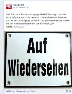 """""""Auf Wiedersehen"""": Facebook-Eintrag auf der Ö3-Seite."""