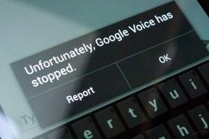Crash statt Versand: Google Voice macht auf Android 4.2 Probleme.