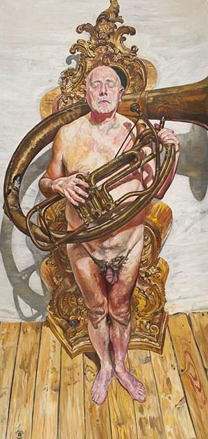 """""""Apotheose"""" - wie die Erhebung eines Menschen zu einem Gott nennt Josef Kern ironisch dieses Porträt eines Mannsbildes (1994)."""