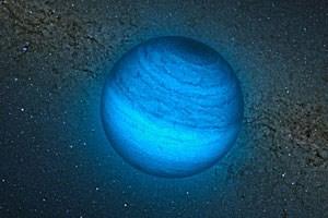 """Künstlerische Darstellung des einsamen Planeten CFBSIR2149, wie er sich ohne """"Mutterstern"""" allein durch das All bewegt."""