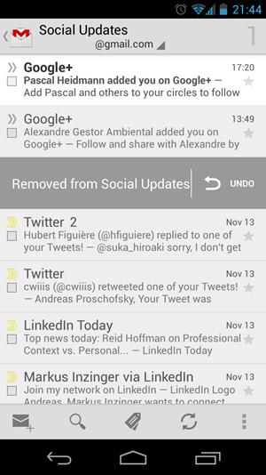 In der Gmail-App können Nachrichten jetzt mit einem schnellen Swipe gelöscht werden.