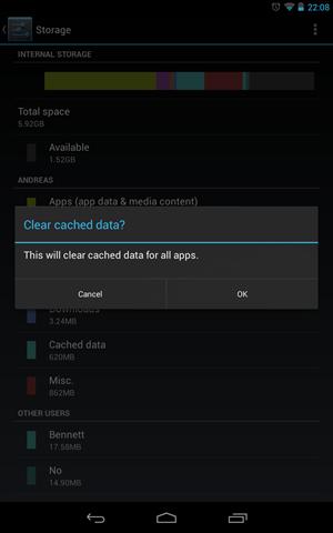 In den Storage-Einstellungen können die Caches sämtlicher Anwendungen auf einmal geleert werden.