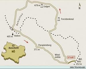 Gesamtgehzeit 3¾ bis 4 Stunden, Höhendifferenz 250 m. Zeitweise geöffnete  Heurige in Hofern und bei der Windmühle. ÖK25V Blatt 4312-Ost (Retz), 1:25.000