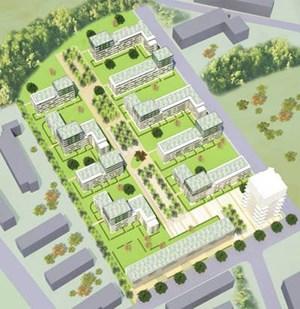 """... sich auf dieser Grafik ganz oben befindet. Auch den hier weiß eingezeichneten Wohnturm an der Südflanke des Wohnparks """"Lange Allee"""" will die Neue Heimat noch bauen."""