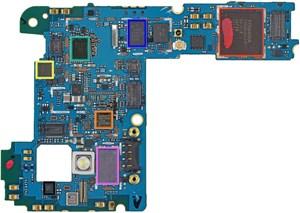 ...und dabei einen LTE-Chip (türkise Markierung) entdeckt.