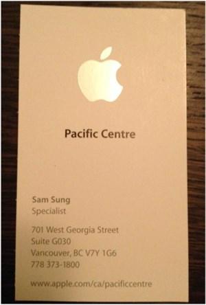 """Die Visitenkarte des """"Spezialisten"""" Sam Sung."""