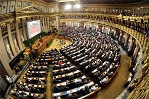 Der historische Sitzungssaal im Parlament bei einer Gedenkveranstaltung im Mai 2011.
