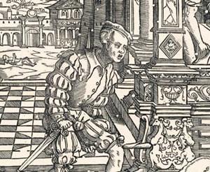 """In der Holztafel, mit der """"De Rijke Man"""" (Der reiche Mann) von Cornelis Anthonisz aus dem Jahr 1541 gedruckt wurde, haben einige Holzwürmer ihre Spuren hinterlassen."""