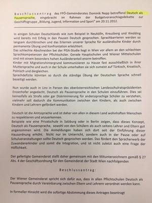 """Antrag """"Deutsch als Pausensprache"""""""