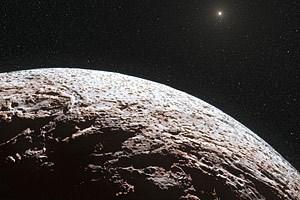 Künstlerischer Blick auf die Oberfläche des aus Methaneis bestehenden Zwergplaneten Makemake.