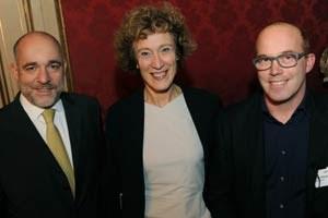 Die Veranstalter von Leadership Revisited, Martin Engelberg (Vienna Consulting Group) und Barbara Heitger (Heitger Consulting), mit Oliver Holle (rechts).