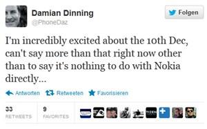 In einem Tweet deutet Dinning etwas Neues an, das mit 10. Dezember für ihn starten wird