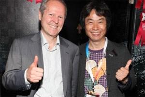 Innovationsforderer Yves Guillemot (Ubisoft) und Innovator Shigeru Miyamoto (Nintendo)