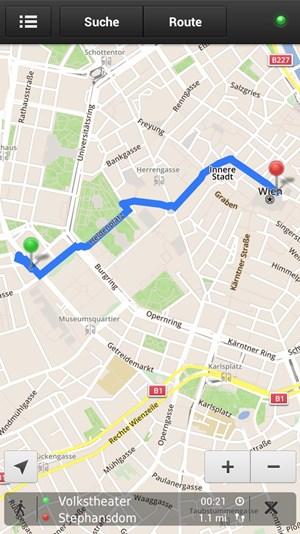 Routenplanung funktioniert offline reibungslos - auch für Fußgänger.