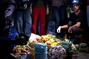 """Ein """"Dive"""" in Salzburg, bei dem etwa 40 Personen """"mittauchten"""" und rund 70 Kilo tipptoppe Lebensmittel aus dem Mist holten."""