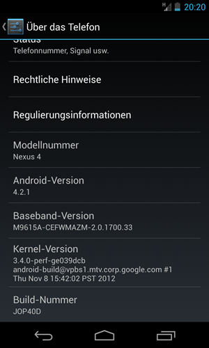 """Das Nexus 4 wird mit Android 4.2 ausgeliefert, also mit der zweiten Ausgabe von """"Jelly Bean""""."""