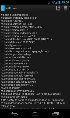 """Die Build-Informationen des Nexus 4: Auch das von """"3"""" zur Verfügung gestellte Gerät bekommt die Updates direkt von Google."""
