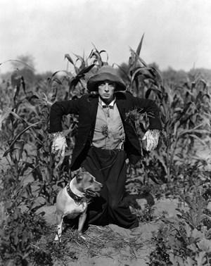 """Buster Keaton in """"The Scarecrow"""", zu Deutsch etwas abweichend: """"Trauung mit Hindernissen"""" (1920)."""