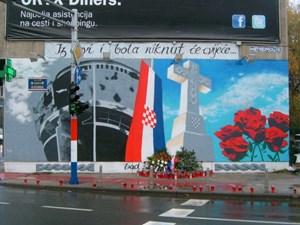 Zum 21. Jahrestag der Einnahme Vukovars durch serbische Verbände erstrahlt in der Ulica Grada Vukovara in Zagreb ein neues Graffiti. Im Zentrum der zerschossene Wasserturm Vukovars.