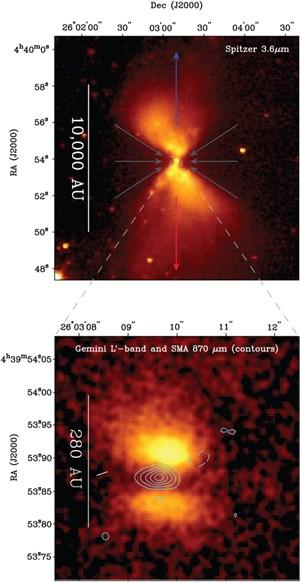 Aufnahmen des Protosterns mit Hilfe des Spitzer-Teleskops (oben) und des Gemini North Telescope.
