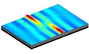 Das Computermodell zeigt, wie Gesteinsfalten im dreidimensionalen Raum entstehen und sich bisweilen miteinander verbinden.