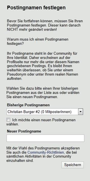 Dialog zum Festlegen des Postingnamen.