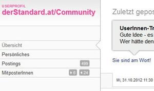 Beispiel für ein neues Userprofil.